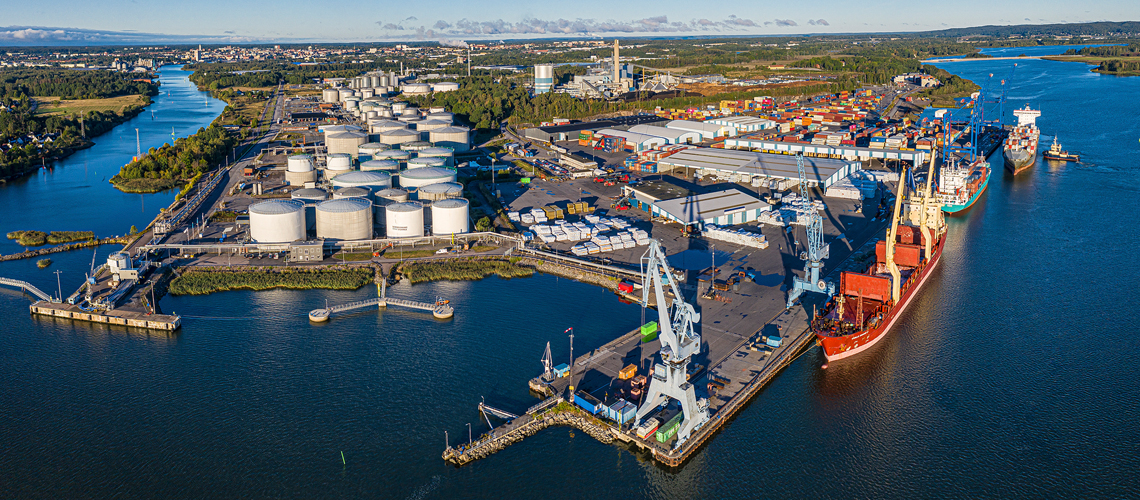 The port of Norrkoping from above